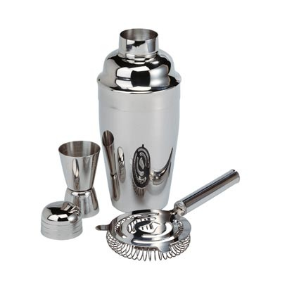 Cocktail-Set aus Metall in silber